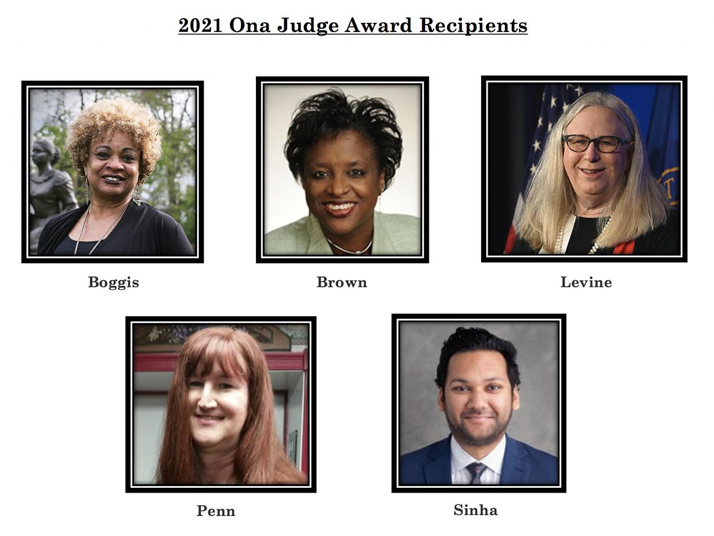 2021 Ona Judge Award recipients