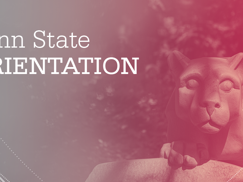 """""""Penn State Orientation"""" over an image of the Lion Shrine with a gray/red color gradient"""