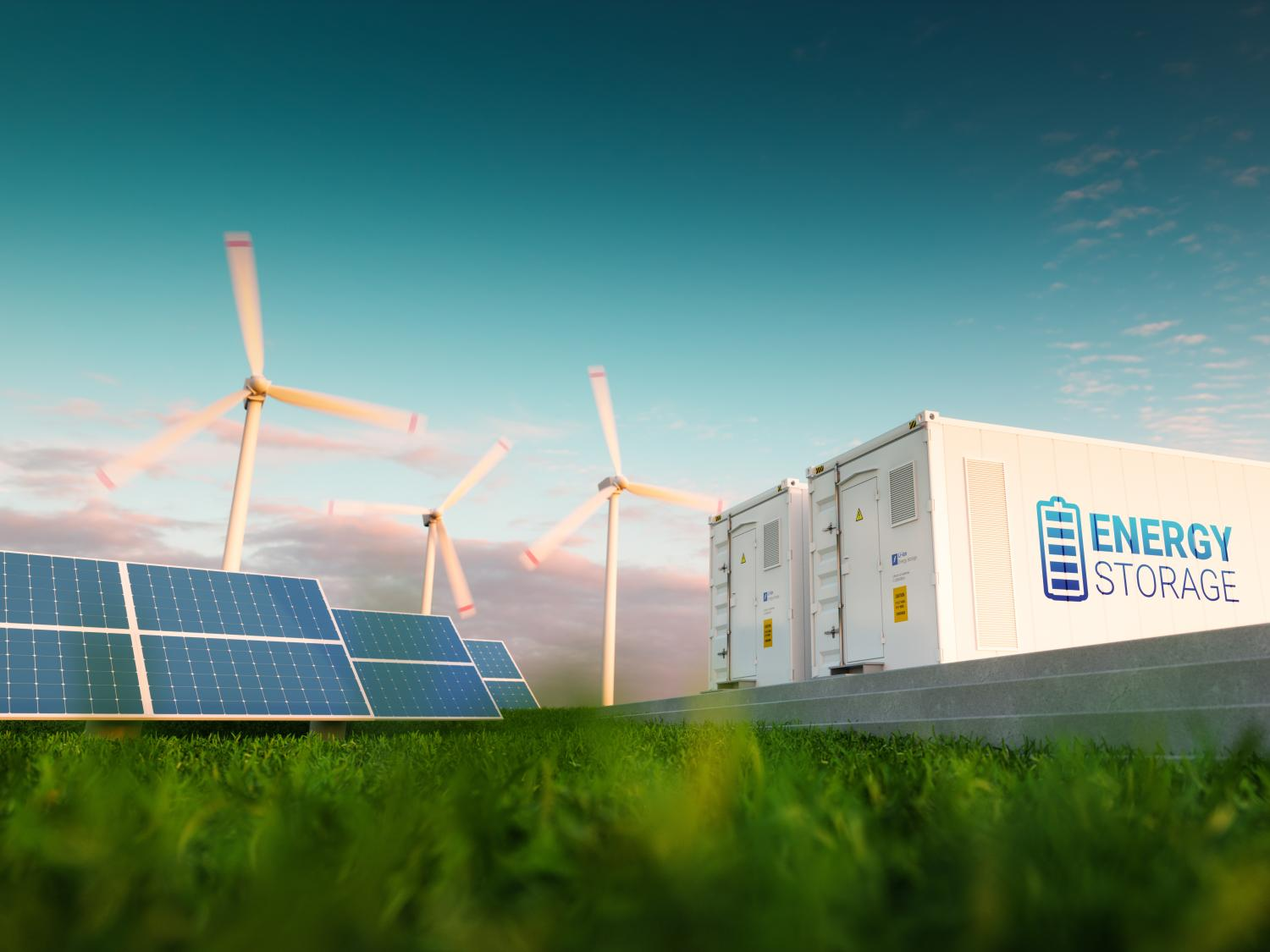 Image of wind power and energy storage.