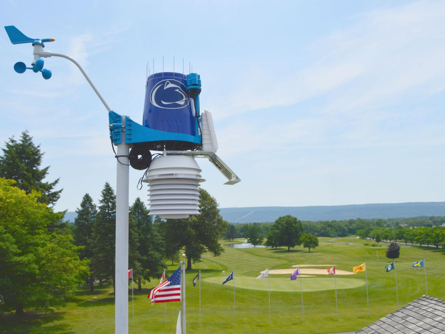 WeatherSTEM station with golf courses in background